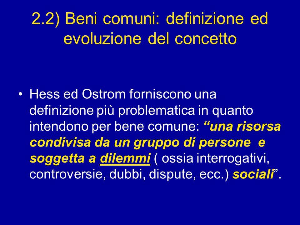 2.2) Beni comuni: definizione ed evoluzione del concetto Hess ed Ostrom forniscono una definizione più problematica in quanto intendono per bene comune: una risorsa condivisa da un gruppo di persone e soggetta a dilemmi ( ossia interrogativi, controversie, dubbi, dispute, ecc.) sociali .