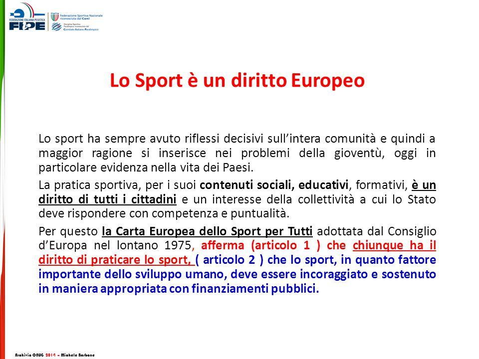 Lo Sport è un diritto Europeo Lo sport ha sempre avuto riflessi decisivi sull'intera comunità e quindi a maggior ragione si inserisce nei problemi della gioventù, oggi in particolare evidenza nella vita dei Paesi.