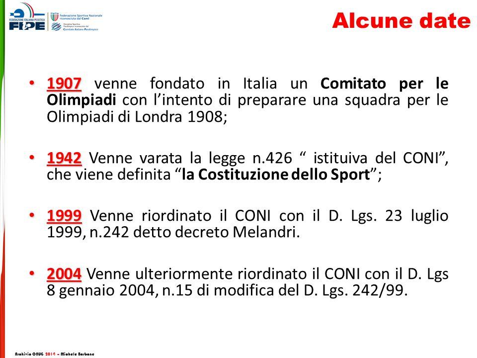1907 1907 venne fondato in Italia un Comitato per le Olimpiadi con l'intento di preparare una squadra per le Olimpiadi di Londra 1908; 1942 1942 Venne varata la legge n.426 istituiva del CONI , che viene definita la Costituzione dello Sport ; 1999 1999 Venne riordinato il CONI con il D.