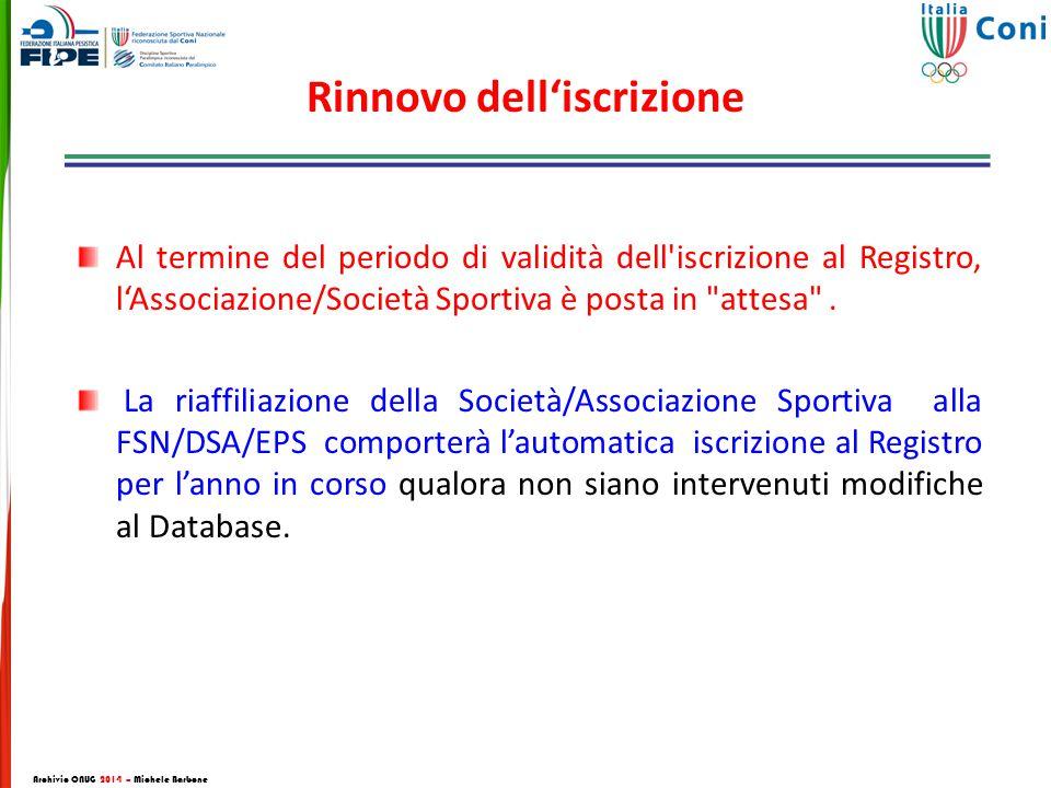 Rinnovo dell'iscrizione Al termine del periodo di validità dell iscrizione al Registro, l'Associazione/Società Sportiva è posta in attesa .