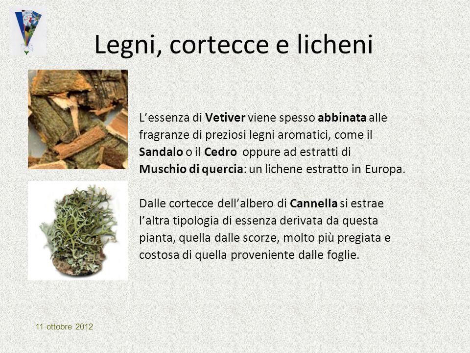 Legni, cortecce e licheni L'essenza di Vetiver viene spesso abbinata alle fragranze di preziosi legni aromatici, come il Sandalo o il Cedro oppure ad