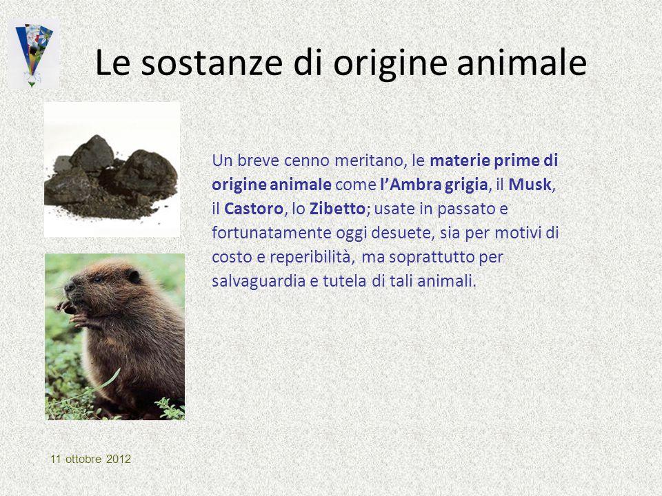 Le sostanze di origine animale Un breve cenno meritano, le materie prime di origine animale come l'Ambra grigia, il Musk, il Castoro, lo Zibetto; usat