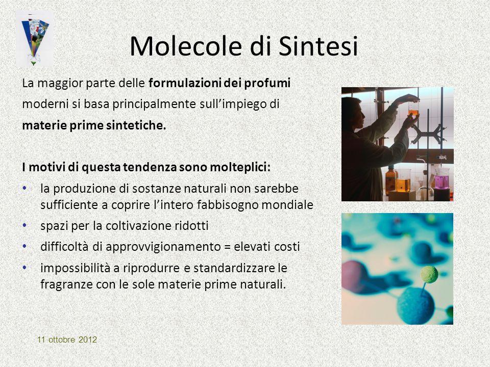 Molecole di Sintesi La maggior parte delle formulazioni dei profumi moderni si basa principalmente sull'impiego di materie prime sintetiche. I motivi