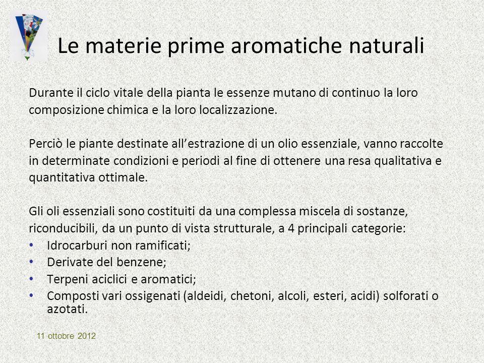 Le materie prime aromatiche naturali Durante il ciclo vitale della pianta le essenze mutano di continuo la loro composizione chimica e la loro localiz