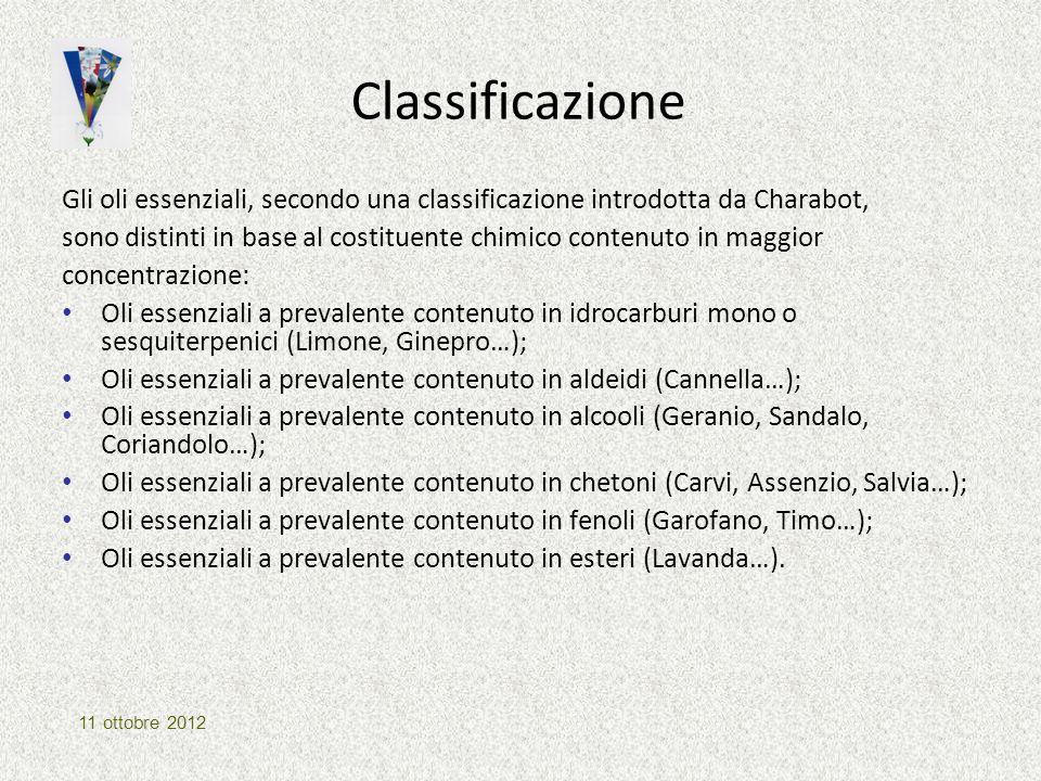 Classificazione Gli oli essenziali, secondo una classificazione introdotta da Charabot, sono distinti in base al costituente chimico contenuto in magg