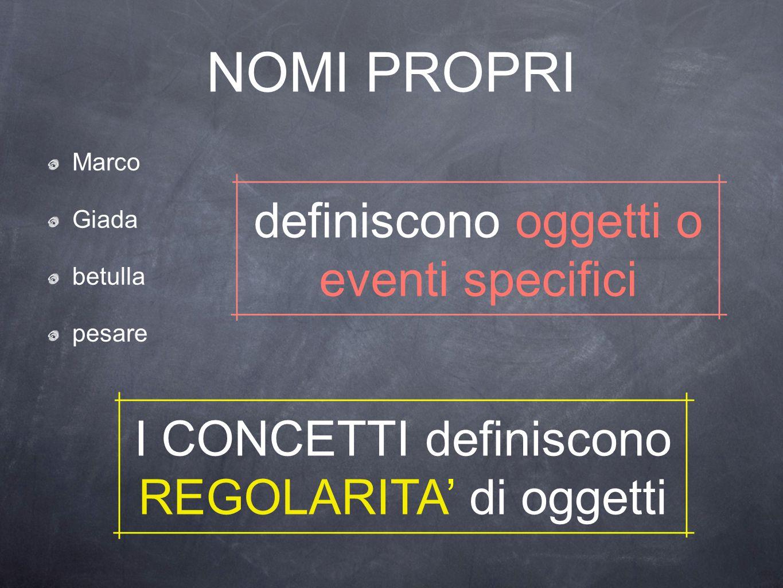 NOMI PROPRI Marco Giada betulla pesare definiscono oggetti o eventi specifici I CONCETTI definiscono REGOLARITA' di oggetti
