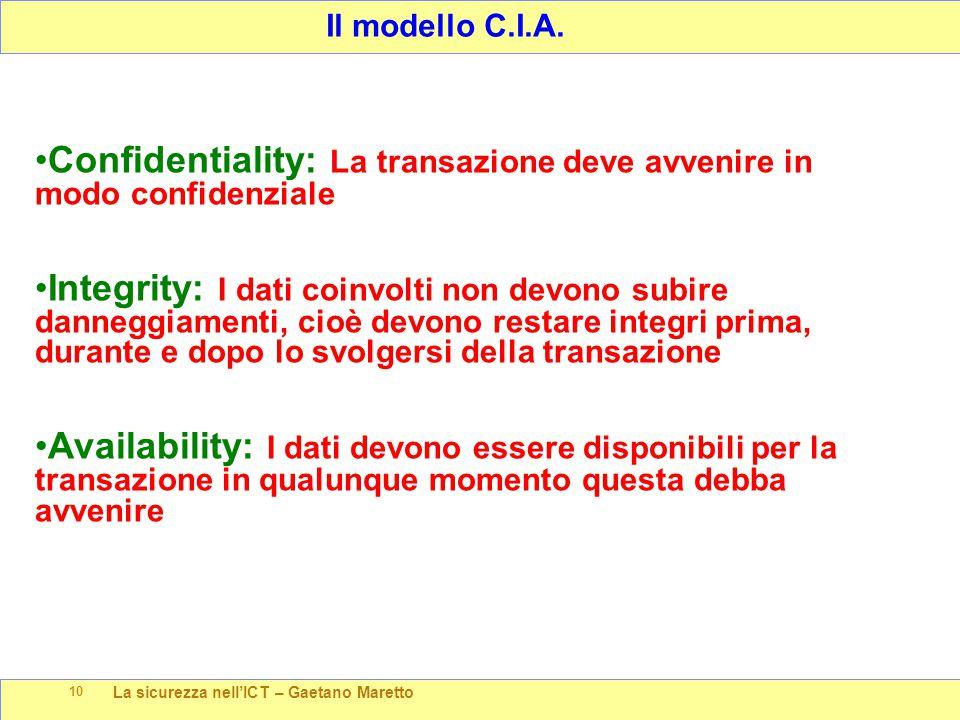 La sicurezza nell'ICT – Gaetano Maretto 10 Il modello C.I.A. Confidentiality: La transazione deve avvenire in modo confidenziale Integrity: I dati coi