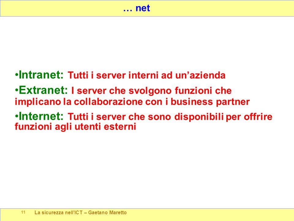 La sicurezza nell'ICT – Gaetano Maretto 11 … net Intranet: Tutti i server interni ad un'azienda Extranet: I server che svolgono funzioni che implicano