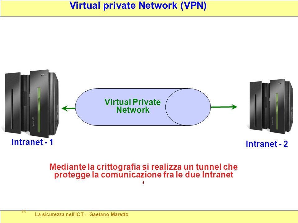 La sicurezza nell'ICT – Gaetano Maretto 13 Virtual private Network (VPN) Intranet - 2 Virtual Private Network ' Intranet - 1 Mediante la crittografia si realizza un tunnel che protegge la comunicazione fra le due Intranet