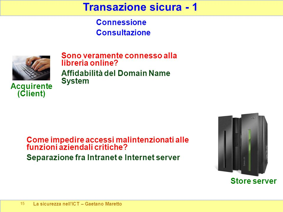 La sicurezza nell'ICT – Gaetano Maretto 15 Transazione sicura - 1 Store server Acquirente (Client) Connessione Consultazione Sono veramente connesso alla libreria online.