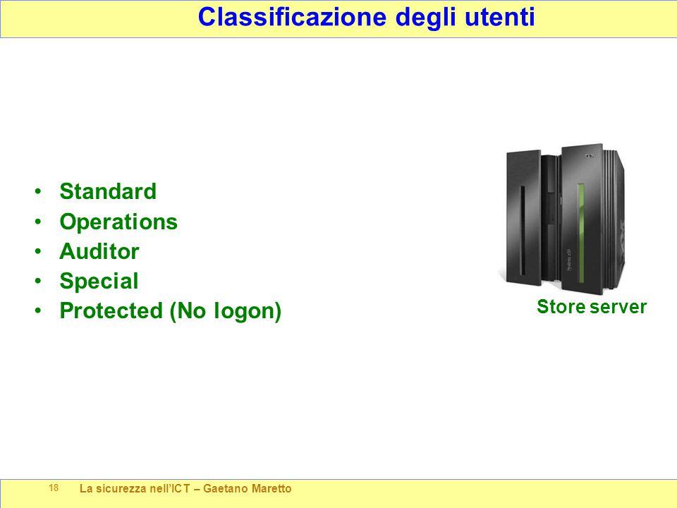 La sicurezza nell'ICT – Gaetano Maretto 18 Classificazione degli utenti Store server Standard Operations Auditor Special Protected (No logon)