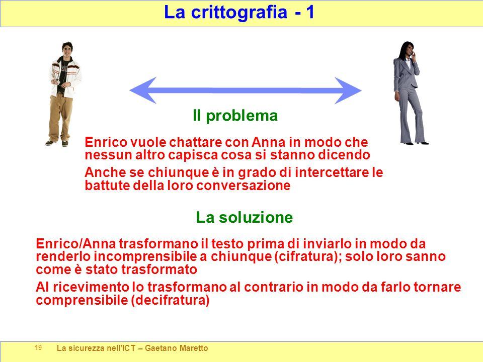 La sicurezza nell'ICT – Gaetano Maretto 19 La crittografia - 1 Il problema Enrico vuole chattare con Anna in modo che nessun altro capisca cosa si sta