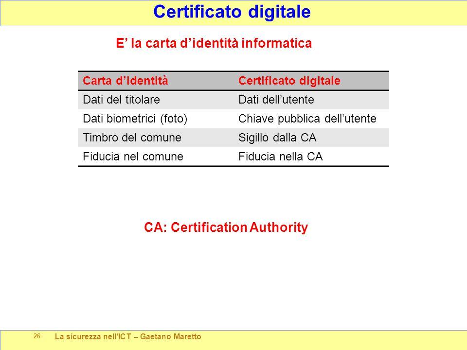 La sicurezza nell'ICT – Gaetano Maretto 26 Certificato digitale E' la carta d'identità informatica Carta d'identitàCertificato digitale Dati del titol