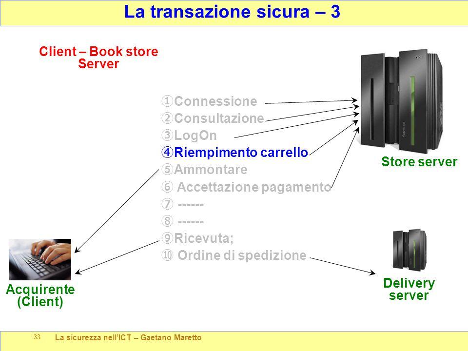 La sicurezza nell'ICT – Gaetano Maretto 33 La transazione sicura – 3 Store server Client – Book store Server Acquirente (Client) ① Connessione ② Consu