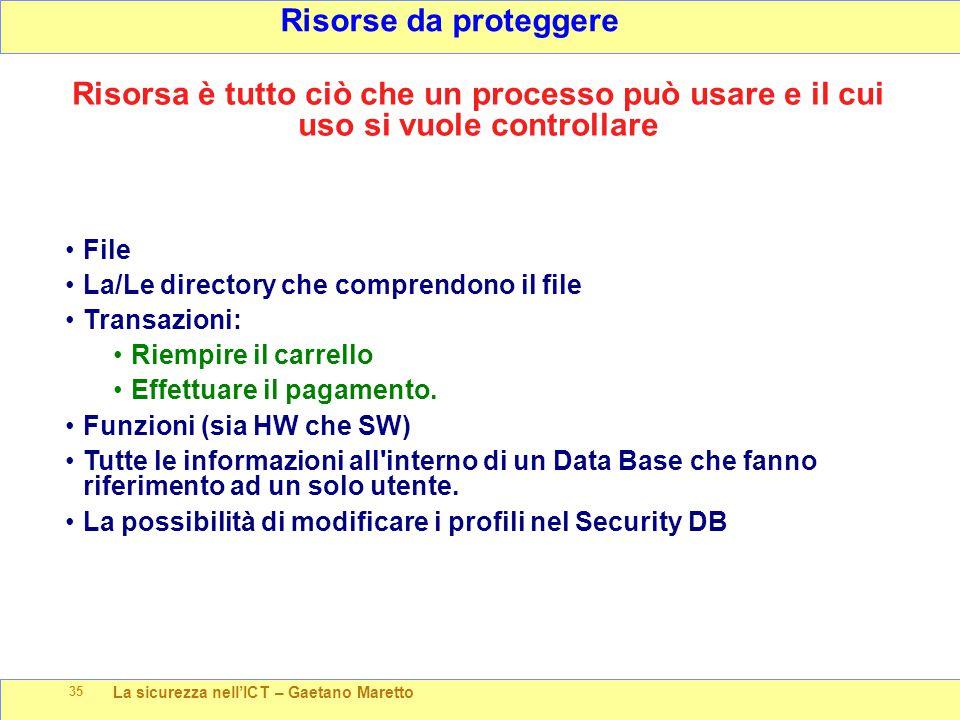 La sicurezza nell'ICT – Gaetano Maretto 35 Risorse da proteggere File La/Le directory che comprendono il file Transazioni: Riempire il carrello Effett