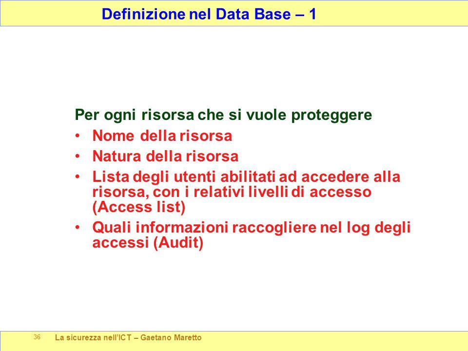 La sicurezza nell'ICT – Gaetano Maretto 36 Per ogni risorsa che si vuole proteggere Nome della risorsa Natura della risorsa Lista degli utenti abilita
