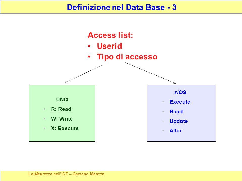 La sicurezza nell'ICT – Gaetano Maretto 38 Access list: Userid Tipo di accesso Definizione nel Data Base - 3 UNIX R: Read W: Write X: Execute z/OS Execute Read Update Alter