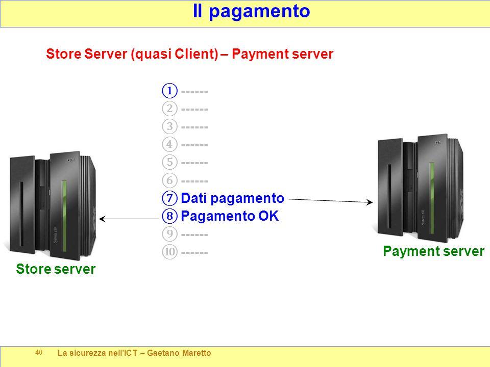 La sicurezza nell'ICT – Gaetano Maretto 40 Il pagamento Payment server Store Server (quasi Client) – Payment server ① ------ ② ------ ③ ------ ④ -----