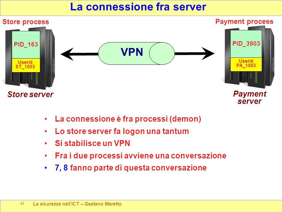 La sicurezza nell'ICT – Gaetano Maretto 41 Payment server La connessione è fra processi (demon) Lo store server fa logon una tantum Si stabilisce un V