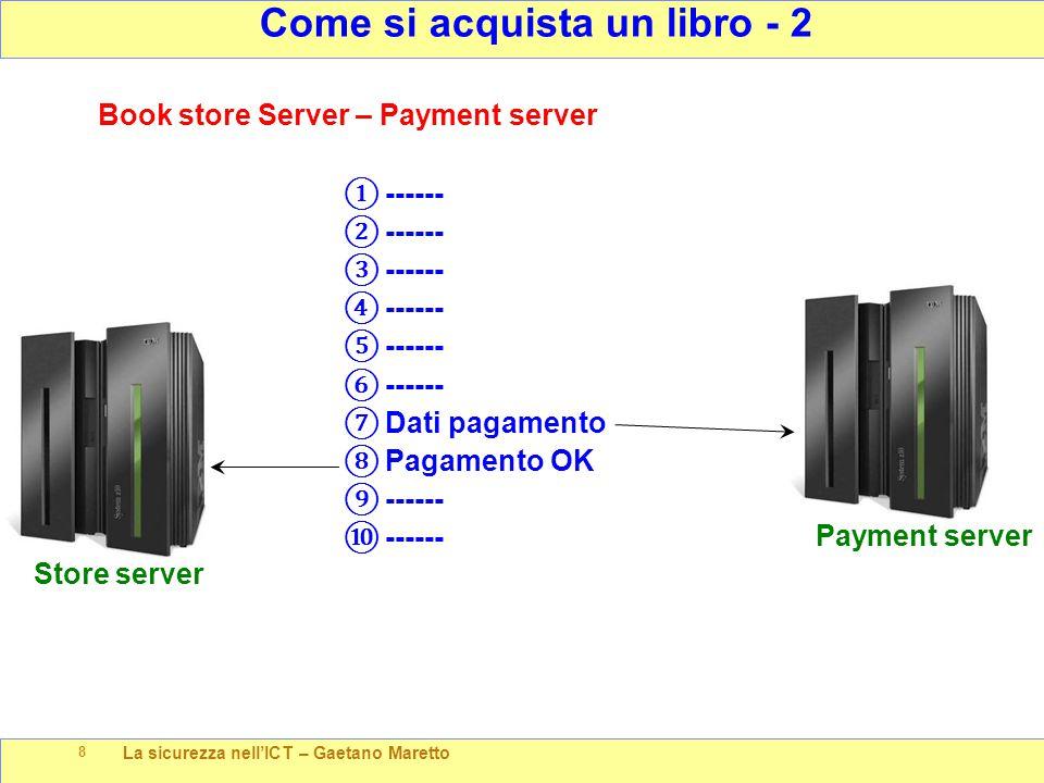 La sicurezza nell'ICT – Gaetano Maretto 8 Come si acquista un libro - 2 Payment server Book store Server – Payment server ① ------ ② ------ ③ ------ ④ ------ ⑤ ------ ⑥ ------ ⑦ Dati pagamento ⑧ Pagamento OK ⑨ ------ ⑩ ------ Store server