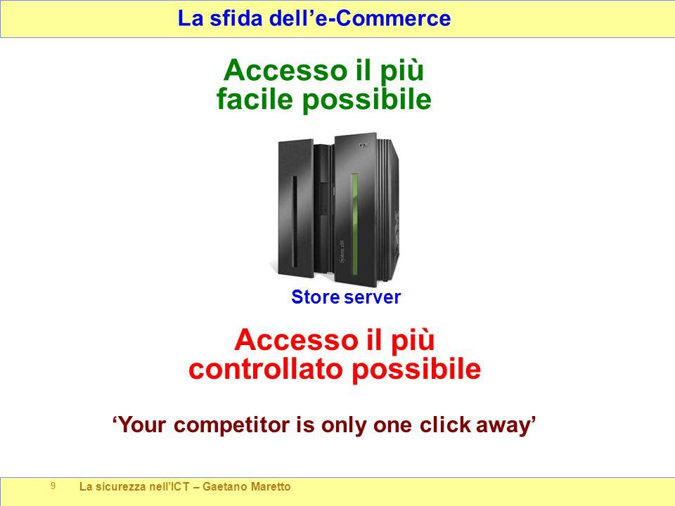 La sicurezza nell'ICT – Gaetano Maretto 9 La sfida dell'e-Commerce Store server Accesso il più facile possibile Accesso il più controllato possibile '