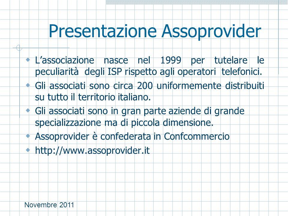 Novembre 2011 Presentazione Assoprovider  L'associazione nasce nel 1999 per tutelare le peculiarità degli ISP rispetto agli operatori telefonici.