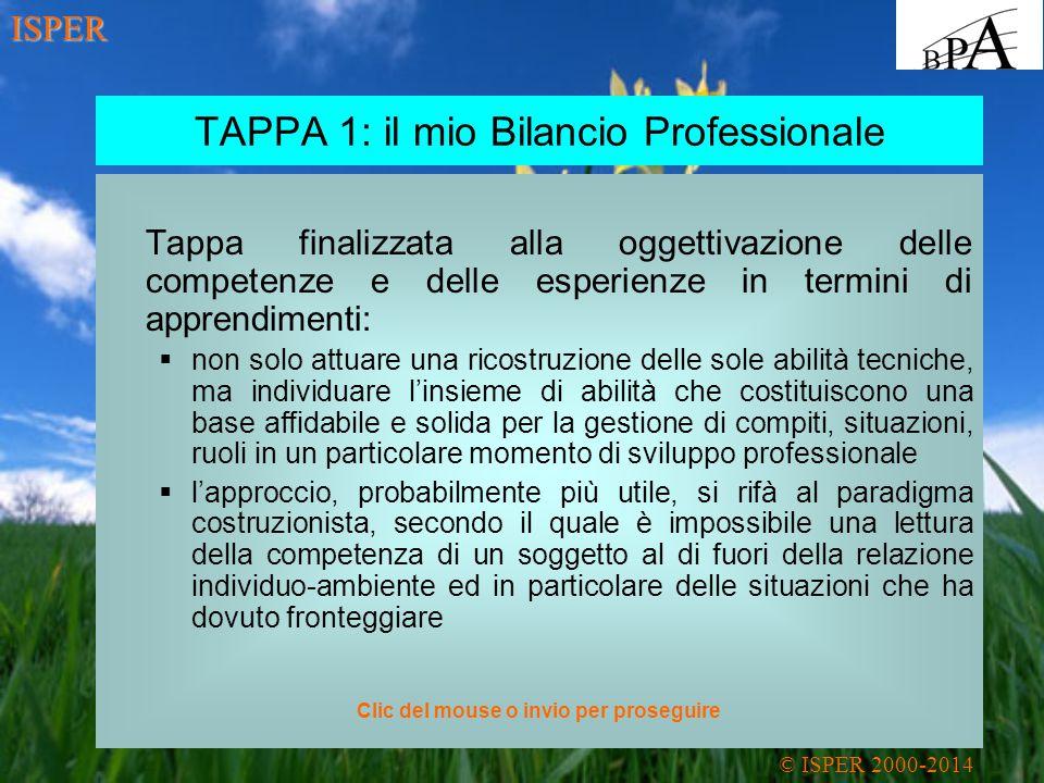 TAPPA 1: il mio Bilancio Professionale Tappa finalizzata alla oggettivazione delle competenze e delle esperienze in termini di apprendimenti:  non solo attuare una ricostruzione delle sole abilità tecniche, ma individuare l'insieme di abilità che costituiscono una base affidabile e solida per la gestione di compiti, situazioni, ruoli in un particolare momento di sviluppo professionale  l'approccio, probabilmente più utile, si rifà al paradigma costruzionista, secondo il quale è impossibile una lettura della competenza di un soggetto al di fuori della relazione individuo-ambiente ed in particolare delle situazioni che ha dovuto fronteggiare © ISPER 2000-2014 ISPER Clic del mouse o invio per proseguire