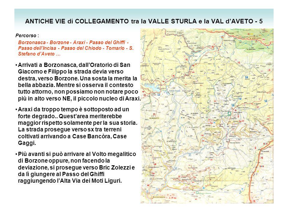 ANTICHE VIE di COLLEGAMENTO tra la VALLE STURLA e la VAL d'AVETO - 5 Percorso : Borzonasca - Borzone - Araxi - Passo del Ghiffi - Passo dell'Incisa - Passo del Chiodo - Tomarlo - S.