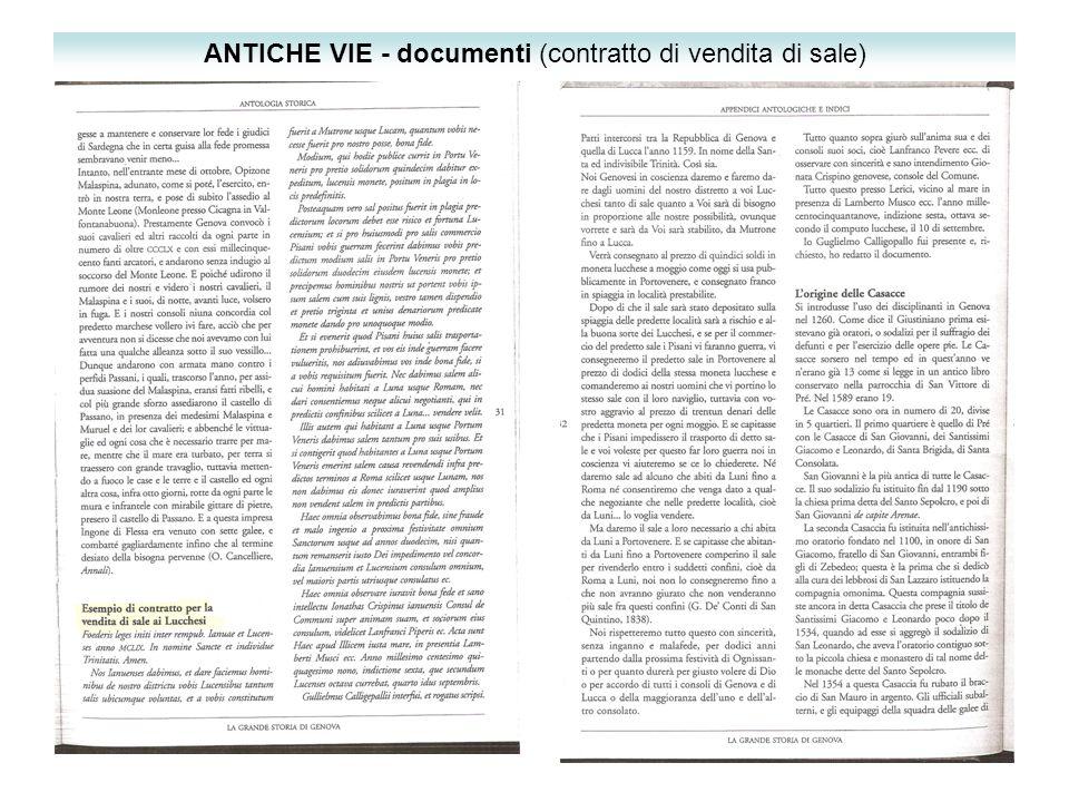 ANTICHE VIE - documenti (contratto di vendita di sale)