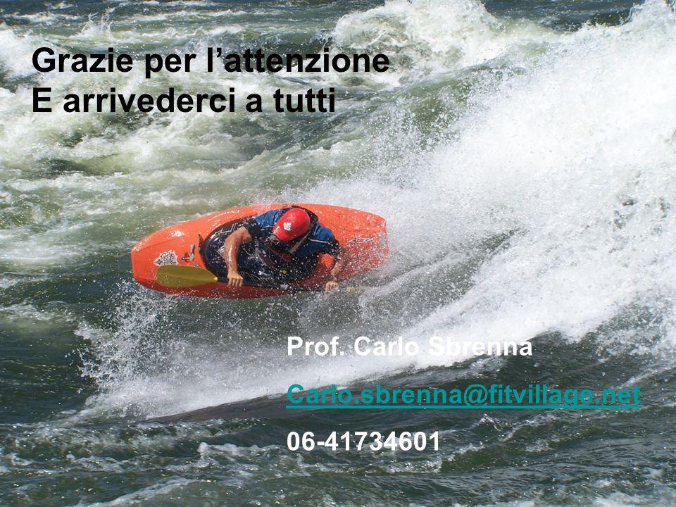 Grazie per l'attenzione E arrivederci a tutti Prof. Carlo Sbrenna Carlo.sbrenna@fitvillage.net 06-41734601