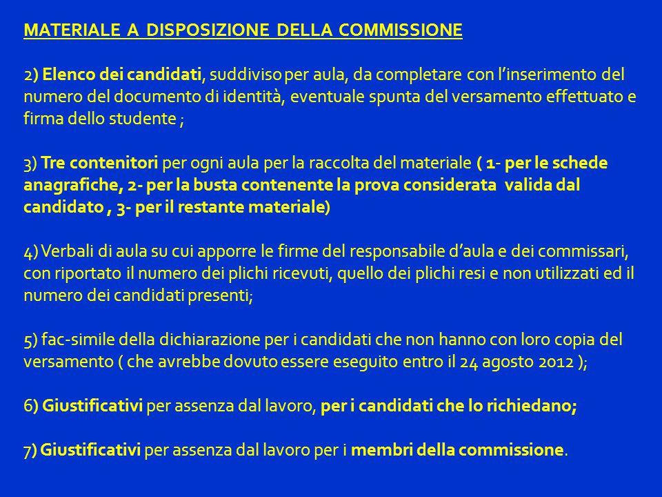MATERIALE A DISPOSIZIONE DELLA COMMISSIONE 2) Elenco dei candidati, suddiviso per aula, da completare con l'inserimento del numero del documento di id