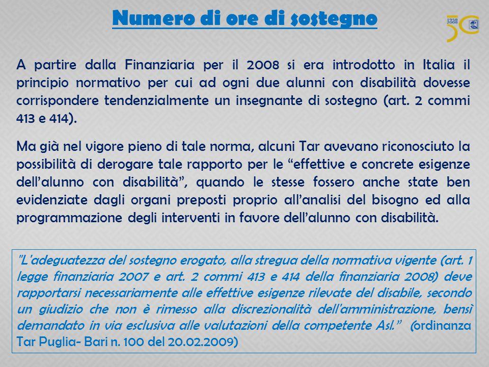 Numero di ore di sostegno A partire dalla Finanziaria per il 2008 si era introdotto in Italia il principio normativo per cui ad ogni due alunni con di