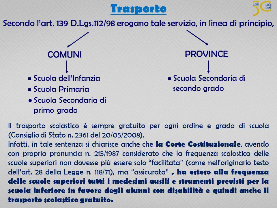 Secondo l'art. 139 D.Lgs.112/98 erogano tale servizio, in linea di principio, COMUNI Scuola dell'Infanzia Scuola Primaria Scuola Secondaria di primo g