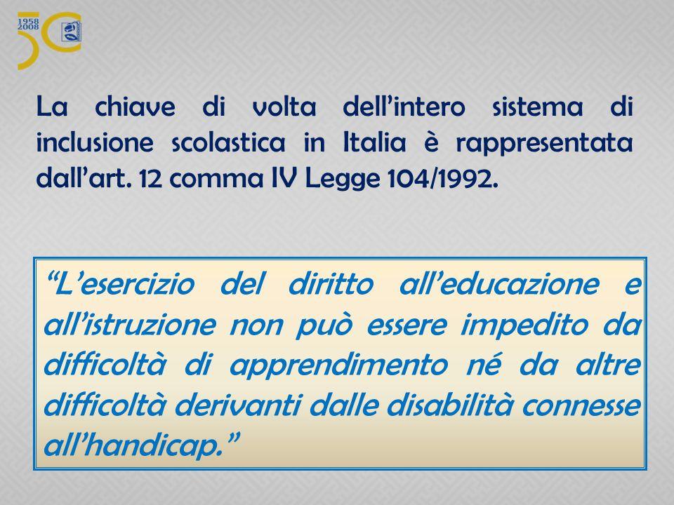"""La chiave di volta dell'intero sistema di inclusione scolastica in Italia è rappresentata dall'art. 12 comma IV Legge 104/1992. """"L'esercizio del dirit"""