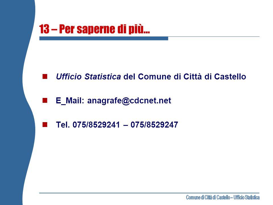 13 – Per saperne di più… Ufficio Statistica del Comune di Città di Castello E_Mail: anagrafe@cdcnet.net Tel. 075/8529241 – 075/8529247