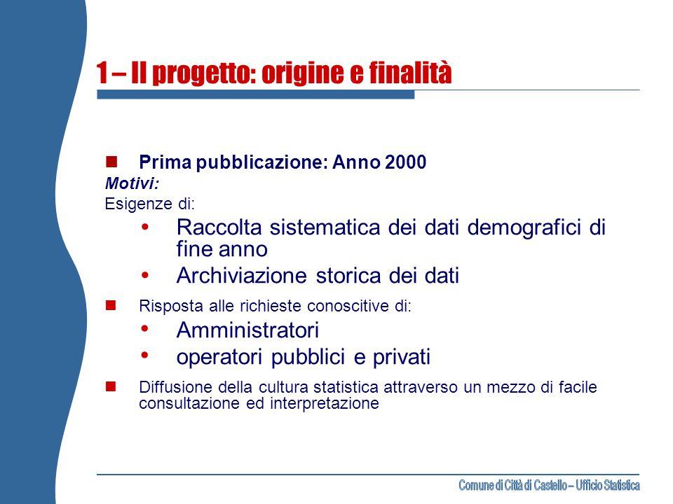 1 – Il progetto: origine e finalità Prima pubblicazione: Anno 2000 Motivi: Esigenze di:  Raccolta sistematica dei dati demografici di fine anno  Arc