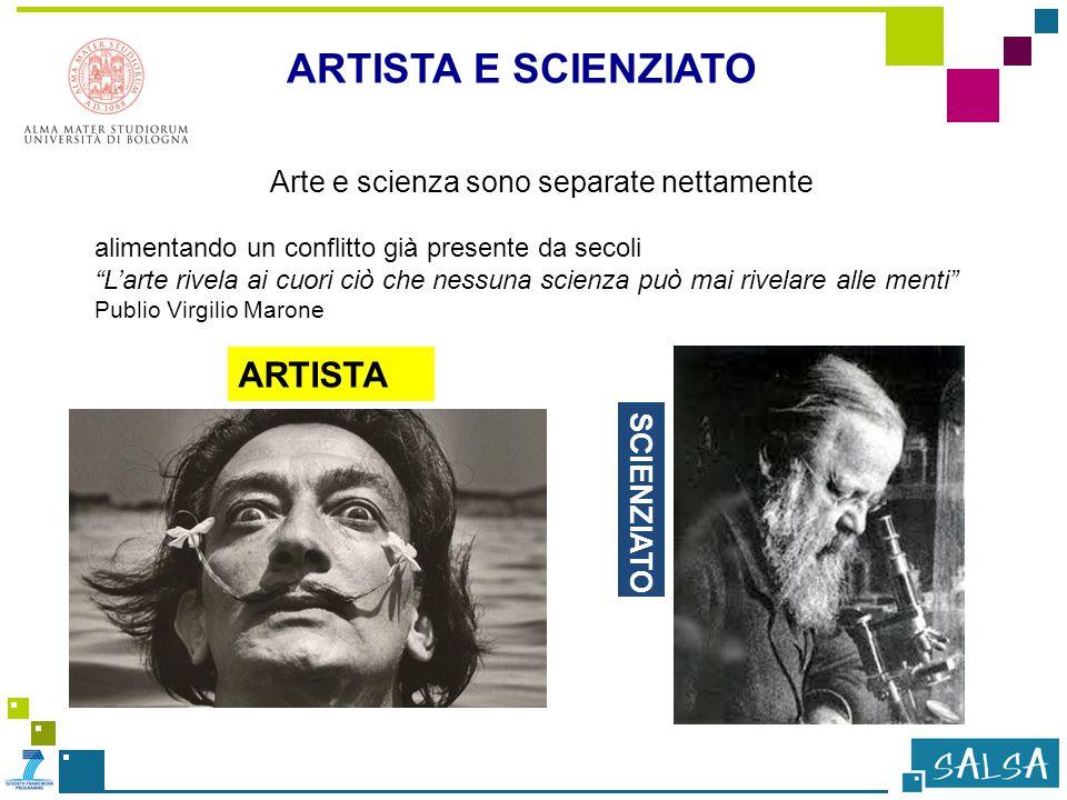 Arte e scienza sono separate nettamente alimentando un conflitto già presente da secoli L'arte rivela ai cuori ciò che nessuna scienza può mai rivelare alle menti Publio Virgilio Marone ARTISTA E SCIENZIATO ARTISTA SCIENZIATO