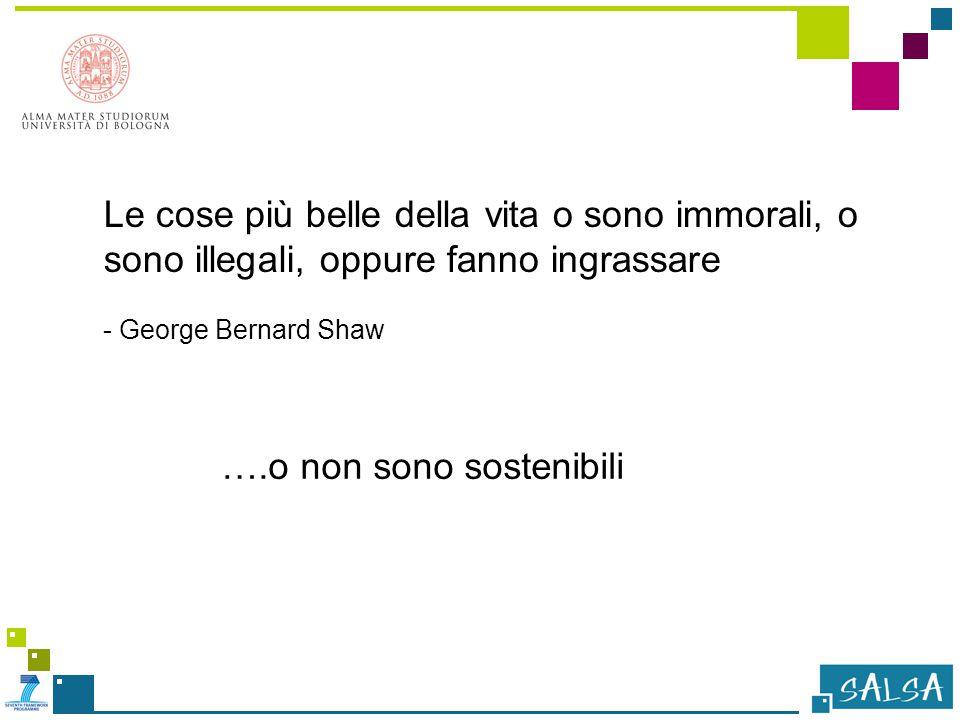 Le cose più belle della vita o sono immorali, o sono illegali, oppure fanno ingrassare - George Bernard Shaw ….o non sono sostenibili