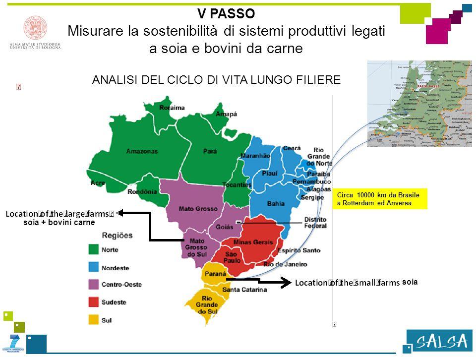 V PASSO Misurare la sostenibilità di sistemi produttivi legati a soia e bovini da carne soia + bovini carne soia Circa 10000 km da Brasile a Rotterdam ed Anversa ANALISI DEL CICLO DI VITA LUNGO FILIERE