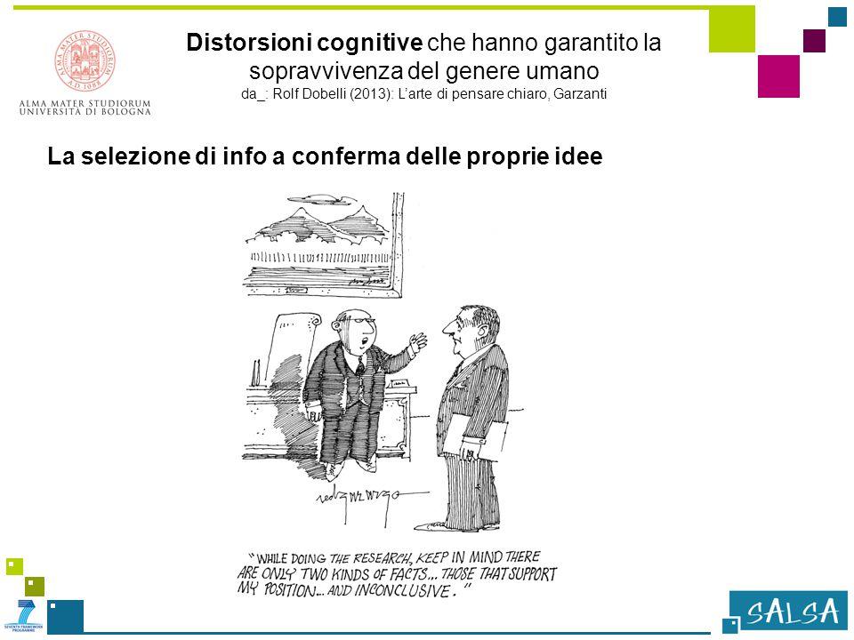 Distorsioni cognitive che hanno garantito la sopravvivenza del genere umano da_: Rolf Dobelli (2013): L'arte di pensare chiaro, Garzanti La selezione di info a conferma delle proprie idee