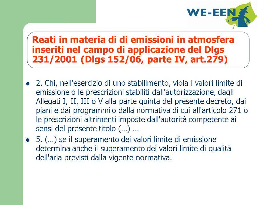 Reati in materia di di emissioni in atmosfera inseriti nel campo di applicazione del Dlgs 231/2001 (Dlgs 152/06, parte IV, art.279) 2.