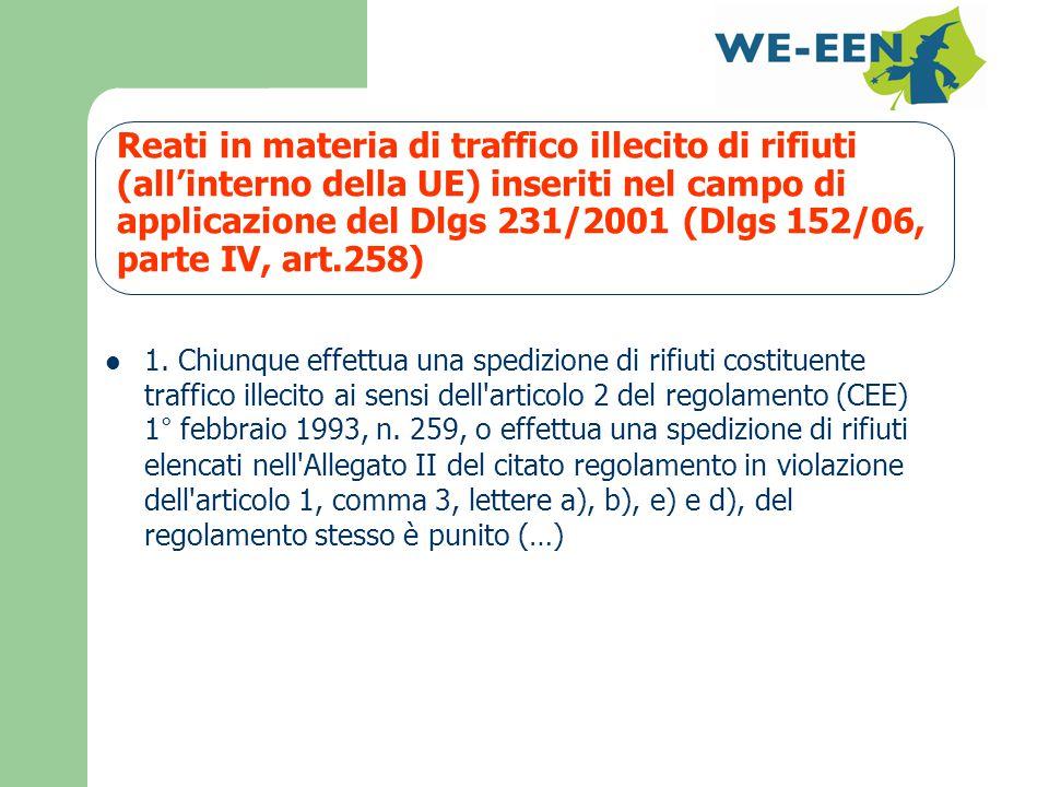 Reati in materia di traffico illecito di rifiuti (all'interno della UE) inseriti nel campo di applicazione del Dlgs 231/2001 (Dlgs 152/06, parte IV, art.258) 1.