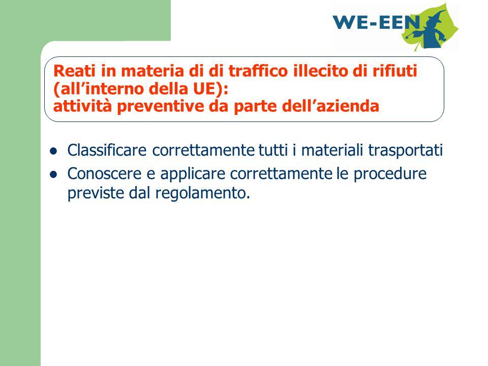 Reati in materia di di traffico illecito di rifiuti (all'interno della UE): attività preventive da parte dell'azienda Classificare correttamente tutti i materiali trasportati Conoscere e applicare correttamente le procedure previste dal regolamento.