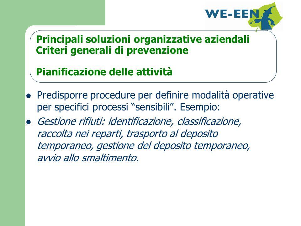 Principali soluzioni organizzative aziendali Criteri generali di prevenzione Pianificazione delle attività Predisporre procedure per definire modalità operative per specifici processi sensibili .