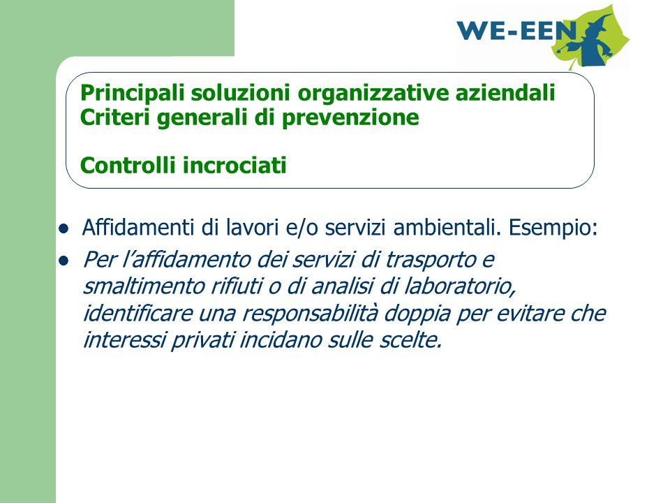 Principali soluzioni organizzative aziendali Criteri generali di prevenzione Controlli incrociati Affidamenti di lavori e/o servizi ambientali.