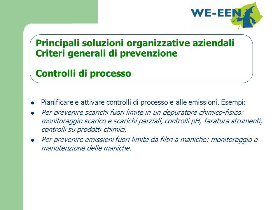 Principali soluzioni organizzative aziendali Criteri generali di prevenzione Controlli di processo Pianificare e attivare controlli di processo e alle emissioni.