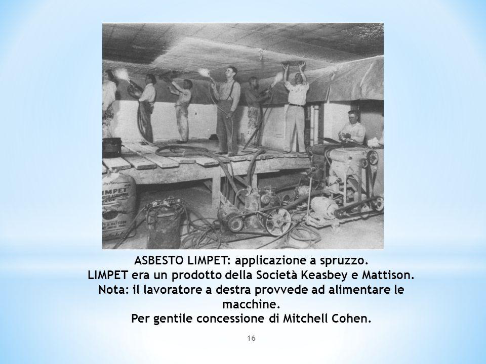 ASBESTO LIMPET: applicazione a spruzzo. LIMPET era un prodotto della Società Keasbey e Mattison. Nota: il lavoratore a destra provvede ad alimentare l