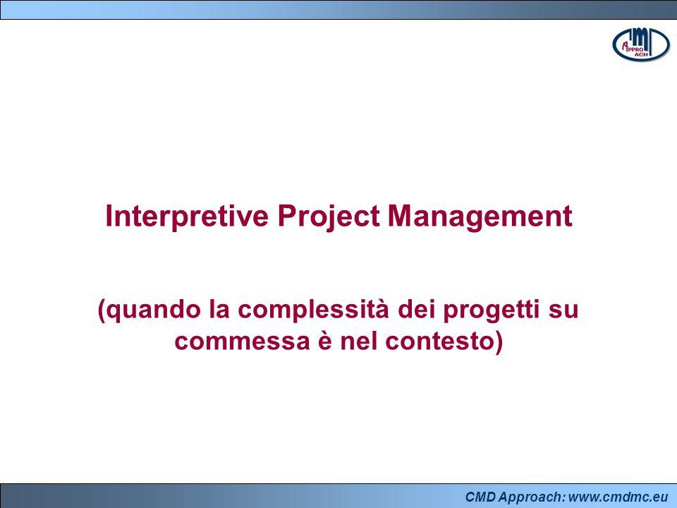 CMD Approach: www.cmdmc.eu Interpretive Project Management (quando la complessità dei progetti su commessa è nel contesto)