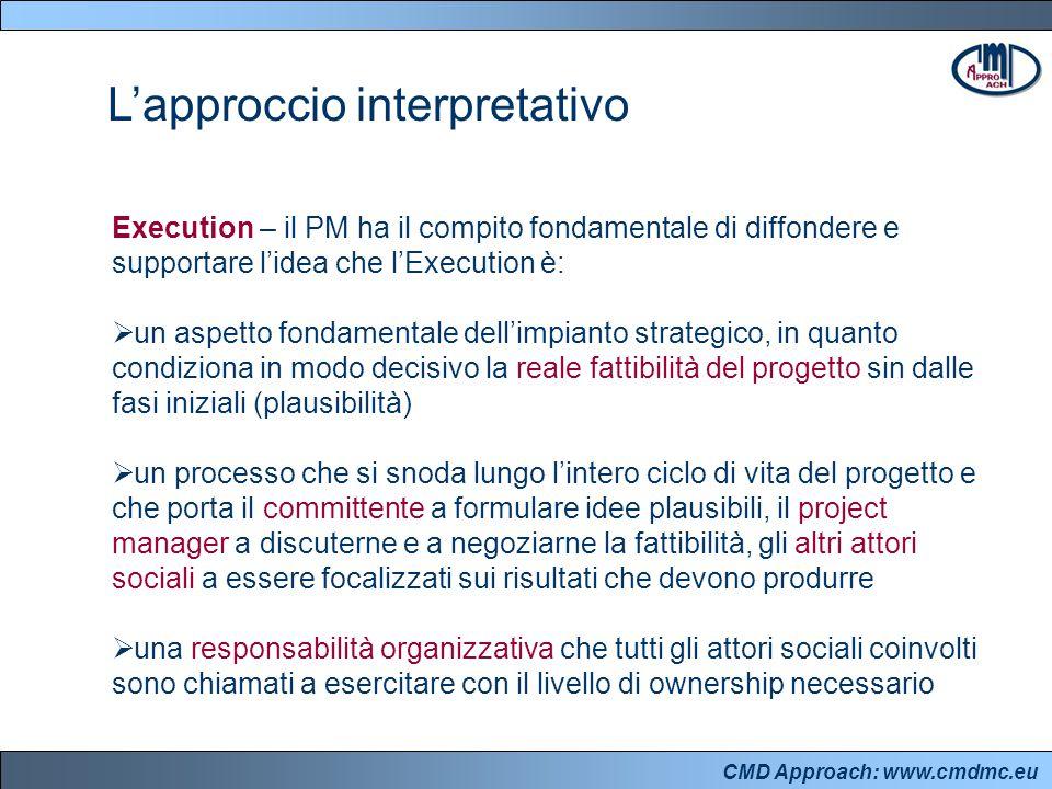 CMD Approach: www.cmdmc.eu Execution – il PM ha il compito fondamentale di diffondere e supportare l'idea che l'Execution è:  un aspetto fondamentale dell'impianto strategico, in quanto condiziona in modo decisivo la reale fattibilità del progetto sin dalle fasi iniziali (plausibilità)  un processo che si snoda lungo l'intero ciclo di vita del progetto e che porta il committente a formulare idee plausibili, il project manager a discuterne e a negoziarne la fattibilità, gli altri attori sociali a essere focalizzati sui risultati che devono produrre  una responsabilità organizzativa che tutti gli attori sociali coinvolti sono chiamati a esercitare con il livello di ownership necessario L'approccio interpretativo