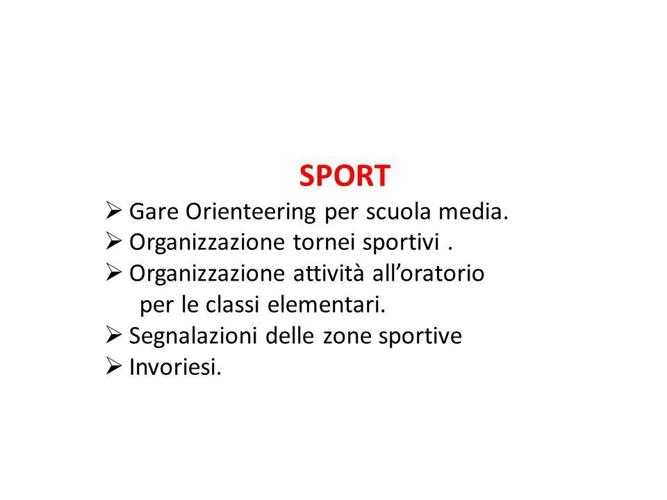 SPORT  Gare Orienteering per scuola media. Organizzazione tornei sportivi.